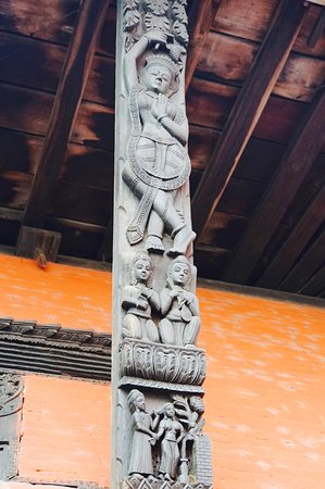 Nepali Temple (Kathwala Temple): details on column in front of temple