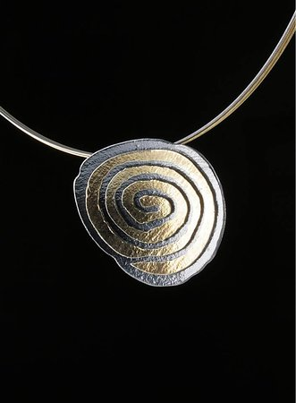 Elements Handmade Jewels: Beautiful asymmetrical spiral neckless, made from 925 Silver and plated partial with 24k Gold