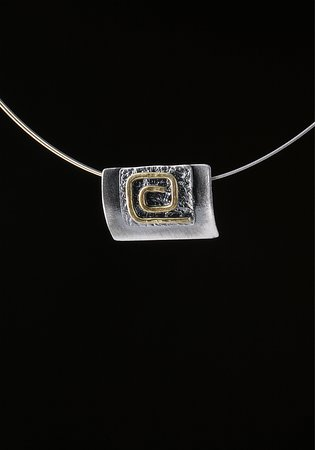 Elements Handmade Jewels: A modern view of meander neckless, made from 925 Silver and plated partial with 24k Gold