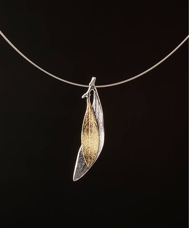 Elements Handmade Jewels: Neckless olive branch. Made from 925 Silver and plated partial with 24k Gold and Rhodium.