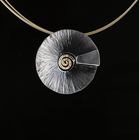 Elements Handmade Jewels: Extraordinary asymmetrical spiral neckless, made from 925 Silver and plated partial with 24k Gol