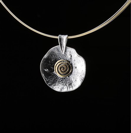 Elements Handmade Jewels: Beautiful modern spiral neckless, made from 925 Silver oxydized and plated partial with 24k Gold