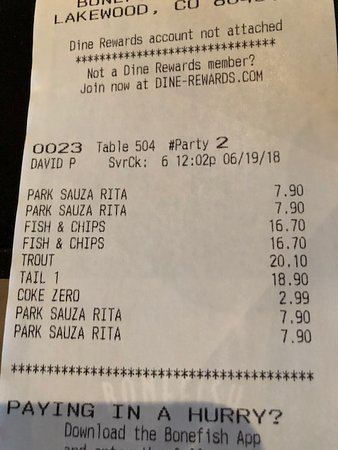 Bonefish Grill - Denver West: Check
