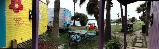 Crystal Beach, TX: View from the front step of Love Shack trailer