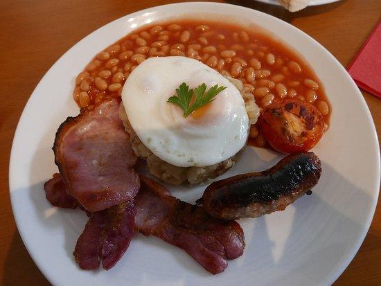Uffculme, UK: full English (I don't eat mushrooms)