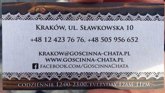 Goscinna Chata Carte De Visite Verso