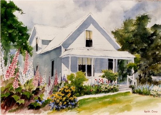 Weaverville, Kalifornia: Watercolor of the Highland Art Center by Keith Crane