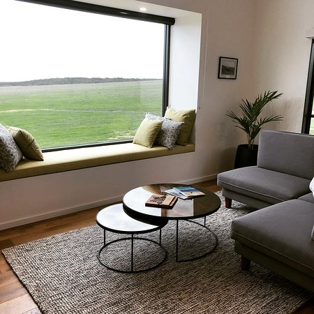 Stokes Bay, Australia: Comfy window seat for catching up on reading all those books that I don't read at home