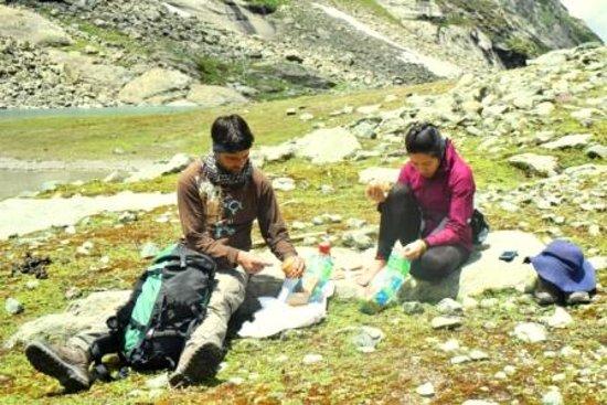 Wildfun Adventure Treks & Tours: Having pack lunch at Tulian Lake,