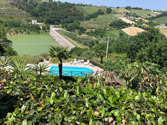 Massignano, Italia: Vista della piscina e del laghetto artificialw