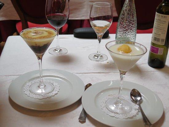 Berlanga de Duero, Ισπανία: Izquierda: Mostillo con helado de avellana y natillas. Derecha: Sorbete de mandarina con sopa de