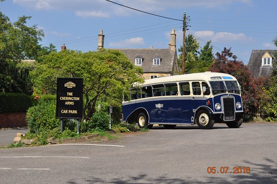The Cherington Arms: Coach 2 uses the extensive car park