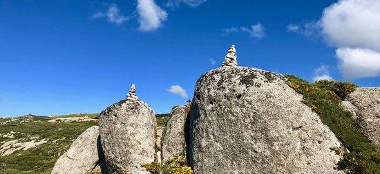Plateau de Coscione: Deze steenhoopjes geven vaak de weg aan.