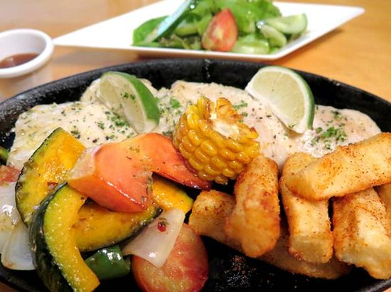 Awesome Grill: Grilled Walu with Sweet Potato fries, grilled corn and salad.