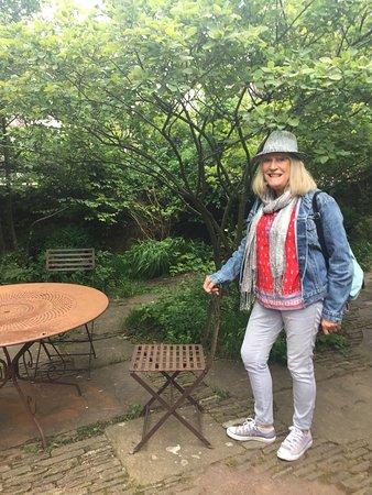 The Art Shop & Chapel: Me in the garden area outside