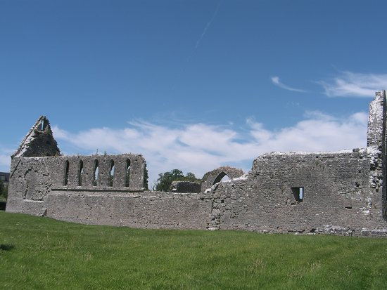County Roscommon, Ireland: South wall of Friary with lancet windows,