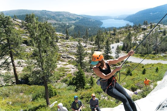 Lake Tahoe Area: Lowering down a climb
