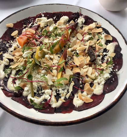 Bowie: beetroot sashimi with goat cheese and almonds
