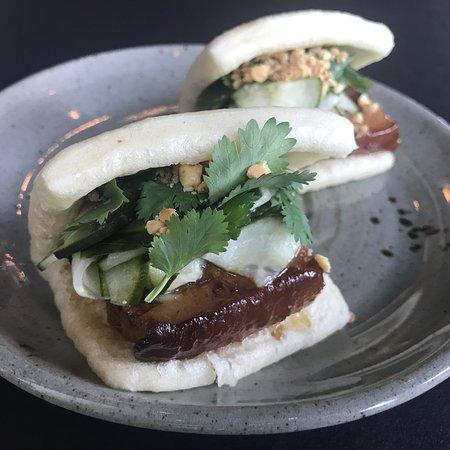Pagu: The foie gras on the tasting menu, smoked watermelon salad, off menu patatas bravas, and pork be