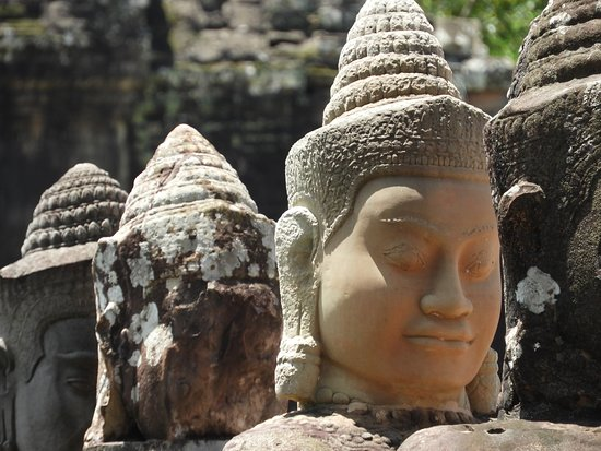 Amazing Angkor Adventure: Deva status at South Gate of Angkor Thom