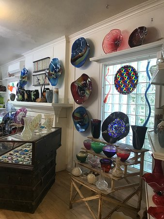 Patterson Glassworks Studio & Gallery: Some of the many beautiful large pieces for sale created here.