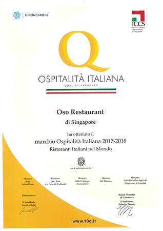 Oso Ristorante: OSPITALIA ITALIANA 2018 AWARD RECIPIENT
