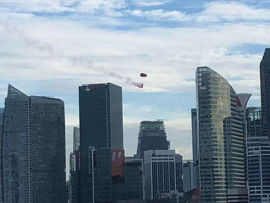 The Ritz-Carlton, Millenia Singapore: viewing of parachute. one of the performance at the national day parade