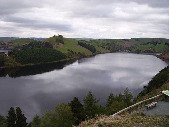 Llanidloes, UK: Looking down on Clywedog Reservoir