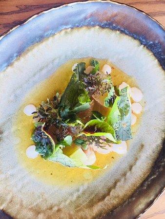Constantia, Sudáfrica: Linefish & Pomelo Ceviche with compressed apple and coconut cream.