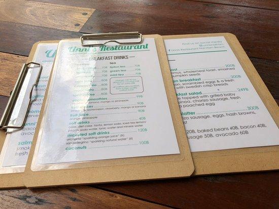 Unni's Restaurant: Menus