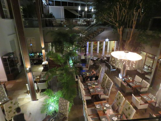 Looking down into the Square restaurant