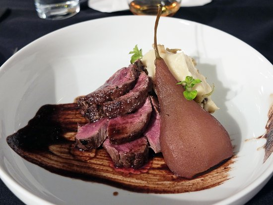Alchemy Restaurant: The show stopper dish, venison with poached pear and chocolate sauce