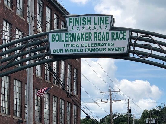 Utica, NY: Finish Line in Industrial Area with Bars and Restaurants