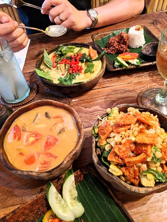 Atman Kafe: Balinese Curry, Tom Kah Gai Soup, and the lentil tofu, and tempeh salad.