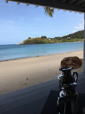 All Saints, Antigua: View from our table at Indigo on the Beach Restaurant during breakfast