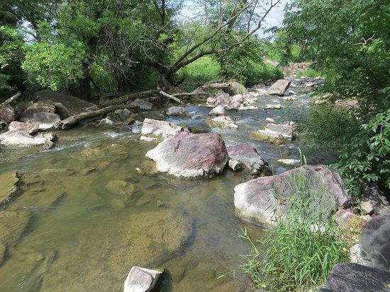 Winnewissa Falls: Where waterfall flows into creek