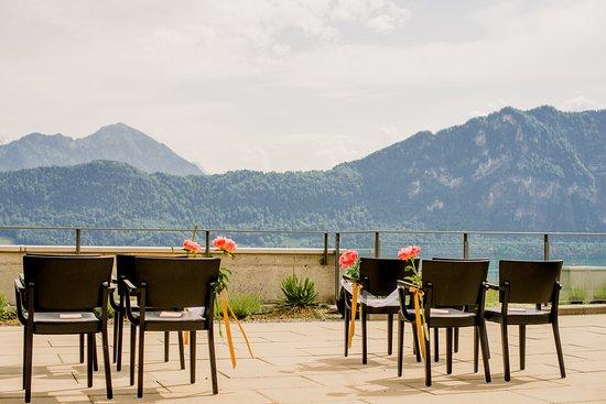 Hotel Alpenblick: Wedding setup on terrace