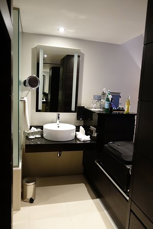 Radisson Blu Elizabete Hotel: superior class room - bathroom basin in main room with mini bar and luggage on right