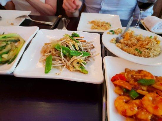 China Kitchen: Mixed veg (C)m, Pak Choi(L), King Prawn rice (UR), King Prawn Szechuan (LR)