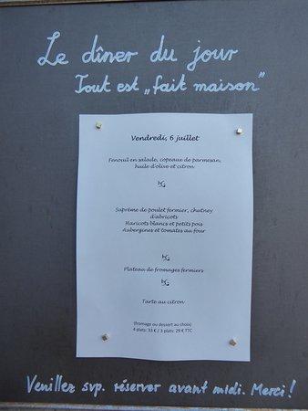 Saint-Laurent du Verdon, France : Speisenfolge / Menue