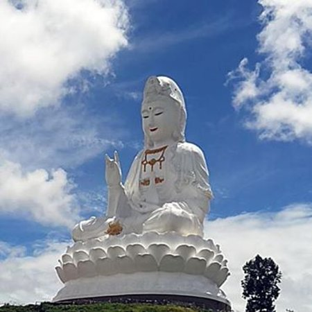 Chiang Rai Province, Thailand: Wat Huay Plaa Kang. 80 meter high. It is possible go by lift to the 25 th floor