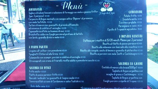 Corgeno, Italy: il menù