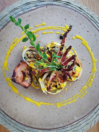 Pan-seared squid with mussels and grains