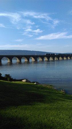 Marysville, PA: Train on the Rockville Bridge as seen from the Bridgeview Inn.