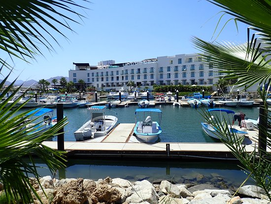 Hotel El Ganzo: View of hotel from across the marina