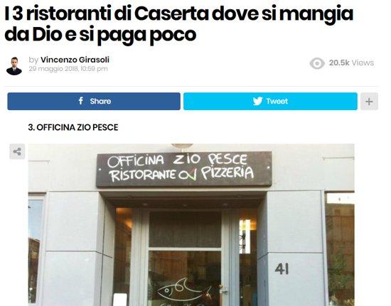 Officina Zio Pesce Caserta Menu Prezzo Ristorante Recensioni