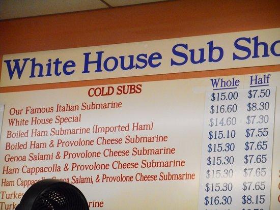 White House Sub Shop: Menu