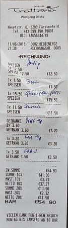 Furstenfeld, Austria: Die detallierte Rechnung.