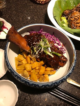 Dragon Noodles Academy: Braised whole short rib with red cabbage and sweet potatoes