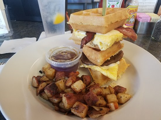 "Mason-Dixon Cafe: ""Breakfast Club"" - waffle, scrambled eggs, bacon, sauage. Side of home freis."